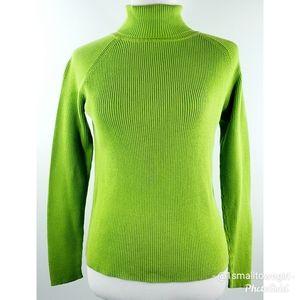 Harve Bernard cable knit turtleneck L green